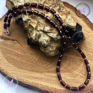 Garnet Tube Bead Necklace
